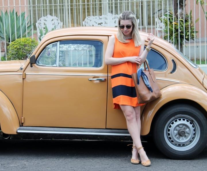 Mirella vestido laranja com marinho 5